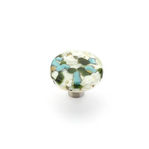 "Ice, Knob, Round, Green/Blue Pebbles, 1-1/2"" dia"