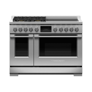 "Fisher & PaykelDual Fuel Range, 48"", 4 Burners, 4 Induction Zones, Self-cleaning, LPG"