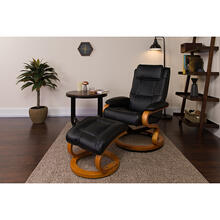 Contemporary Adjustable Recliner and Ottoman with Swivel Maple Wood Base in Black LeatherSoft