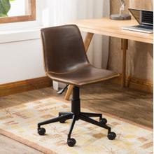 Cesena Faux Leather 360 Swivel Air Lift Office Chair, Antique Brown