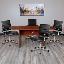 See Details - 5 Piece Cherry Oval Conference Table Set with 4 Black LeatherSoft Ribbed Executive Chairs