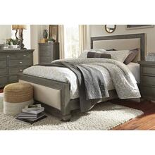 5/0 Queen Upholstered Footboard W/ Slats - Distressed Dark Gray Finish
