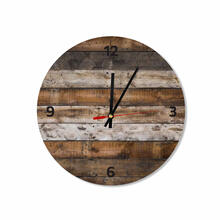 Rustic Wooden Background Round Square Acrylic Wall Clock