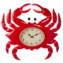Red & White Enamel Crab Clock