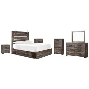 Twin Panel Bed With 2 Storage Drawers With Mirrored Dresser, Chest and 2 Nightstands