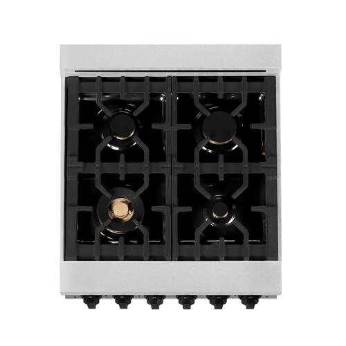 """Zline Kitchen and Bath - ZLINE Autograph Edition 24"""" 2.8 cu. ft. Dual Fuel Range with Gas Stove and Electric Oven in DuraSnow® Stainless Steel with Matte Black Accents (RASZ-SN-24-MB) [Color: Gold]"""