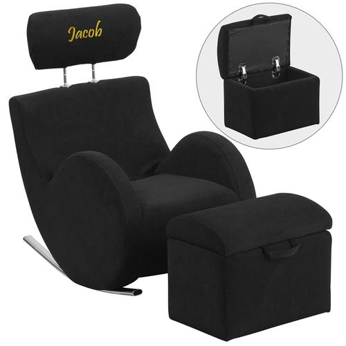 Personalized HERCULES Series Black Fabric Rocking Chair with Storage Ottoman