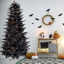 Fraser Hill Farm 7-Ft. Spooky Black Tinsel Tree with Clear LED Incandescent Lighting, HH070TINTREE-1BLK