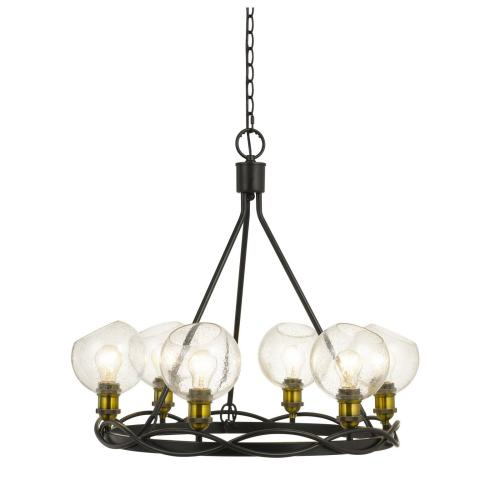 60W X 6 Soria Metal Chandelier With Bulbbed Round Glass Shade (Edison Bulbs Not included)