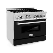 """View Product - ZLINE 36"""" Professional 4.6 cu. ft. 6 Gas on Gas Range in Stainless Steel with Color Door Options (RG36) [Color: Black Matte]"""