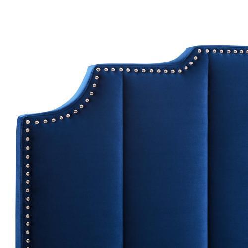 Lucille Queen Performance Velvet Platform Bed in Navy