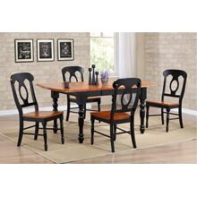 DLU-TDX3472-C50-BCH5PC  5 Piece Drop Leaf Extendable Dining Set  Napoleon Chairs