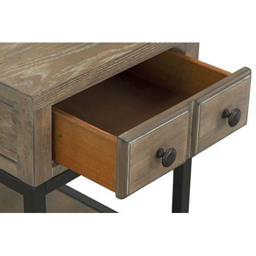 Wayne Side Chair Table with Metal Base, Brown