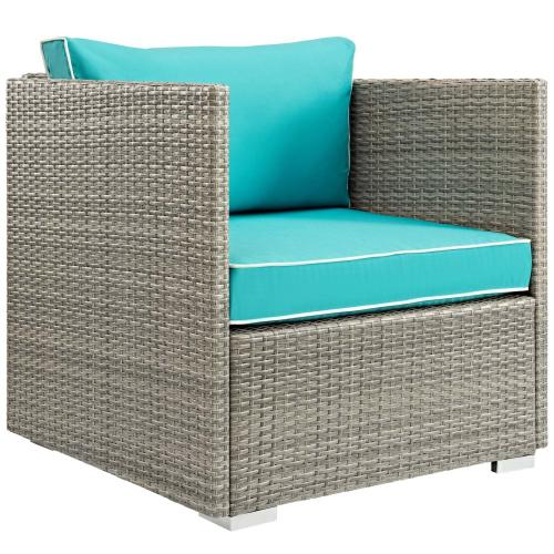 Modway - Repose 3 Piece Outdoor Patio Sectional Set in Light Gray Turquoise