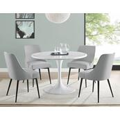 Colfax 5 Piece White Base/White Marble Top Dining(Table & 4 Side Chairs)