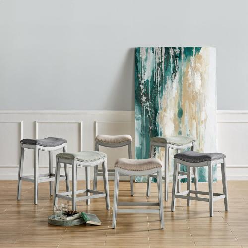 New Pacific Direct - Grover KD Fabric Counter Stool Ash Gray Frame, Lyon Cream