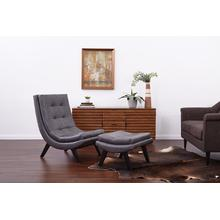 Tustin Lounge Chair and Ottoman Set With Pewter Faux Leather Fabric & Black Legs