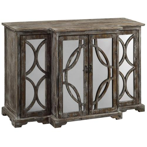 Product Image - Galloway 4 Door Rustic Wood and Mirror Sideboard