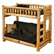 Traditional Bunk Bed - Futon/Single - Natural Cedar - Ladder Left