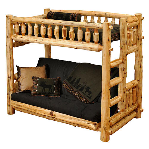 Traditional Bunk Bed - Futon/Single - Vintage Cedar - Ladder Left