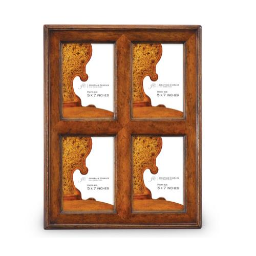 """5""""X7"""" Quadruple Country Walnut Picture Frame"""