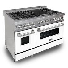 """See Details - ZLINE 48"""" DuraSnow® Stainless Steel 6.0 cu.ft. 7 Gas Burner/Electric Oven Range with Color Door Options (RAS-SN-48) [Color: White Matte]"""