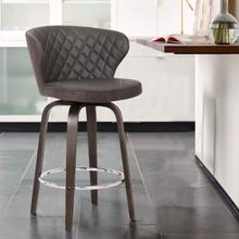 """View Product - Mynette 30"""" Swivel Brown Faux Leather Bar Stool"""