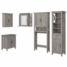 See Details - Farmhouse Bathroom Storage Set with Cabinets, Mirror, Hamper and Shelf, Driftwood Gray
