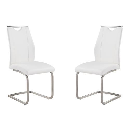 Armen Living - Bravo Contemporary Side Chair In White and Stainless Steel - Set of 2