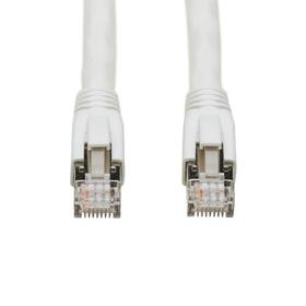 Cat8 25G/40G-Certified Snagless Shielded S/FTP Ethernet Cable (RJ45 M/M), PoE, White, 3 ft.