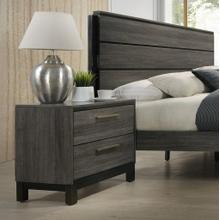 See Details - Ioana Antique Grey Finish Wood 2 Drawers Night Stands
