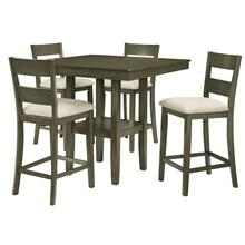 View Product - Loft Counter Height Table with Four Chairs Set, Grey