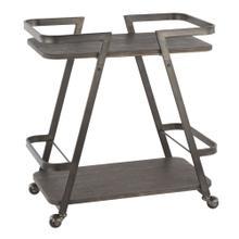 Seven Bar Cart - Antique Metal, Espresso Bamboo