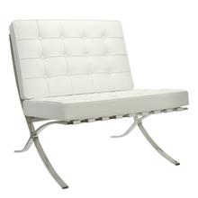 Barcelona Chair - Full Genuine Italian Leather - Reproduction - White