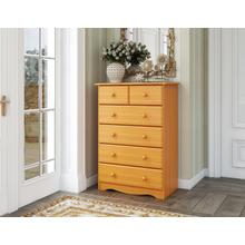 See Details - 5364 - Six Drawer Chest - Honey Pine