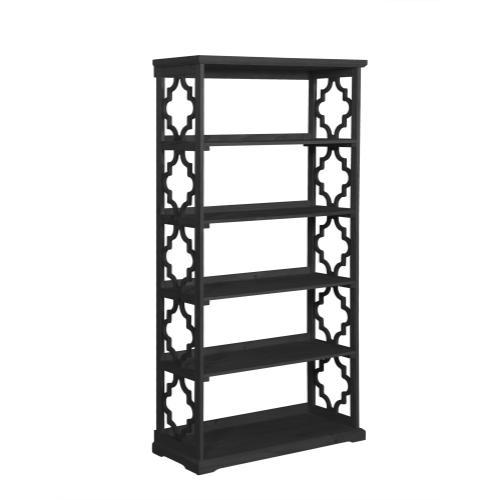 5-shelf and Open Back Bookcase, Black
