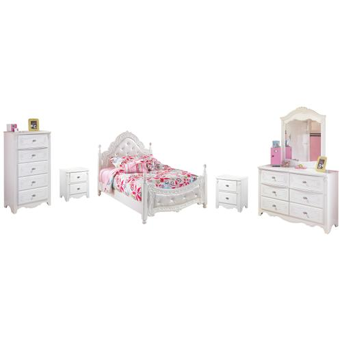 Full Poster Bed With Mirrored Dresser