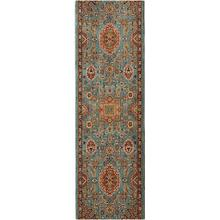 "Spice Market Deir Aquamarine Roll Runner 2' 4""xCustom Finished End"