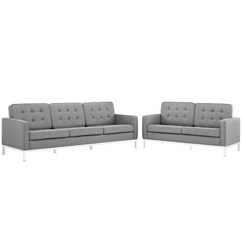 Loft 2 Piece Upholstered Fabric Sofa and Loveseat Set in Light Gray