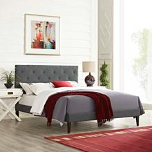 View Product - Tarah Queen Fabric Platform Bed with Squared Tapered Legs in Gray
