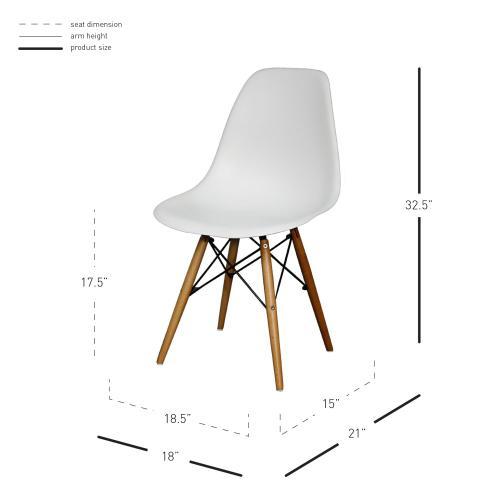 Allen Molded PP Chair Maple Dowel Legs, White