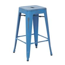 """See Details - Bristow 26"""" Antique Metal Barstool, Antique Royal Blue Finish, 4 Pack"""