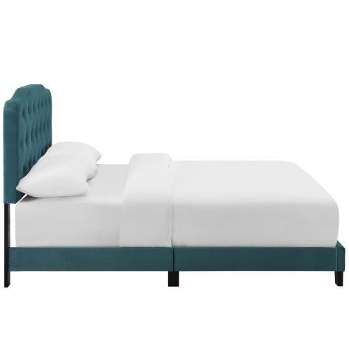 Amelia Twin Performance Velvet Bed in Sea Blue