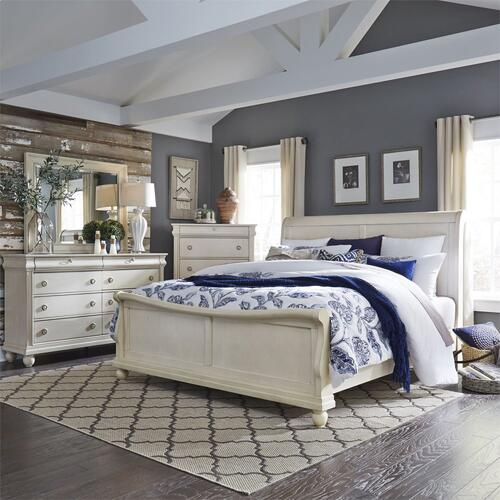 King California Sleigh Bed, Dresser & Mirror, Chest
