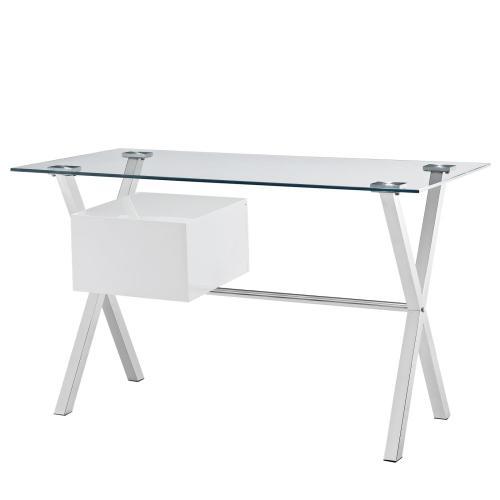 Stasis Glass Top Office Desk in White