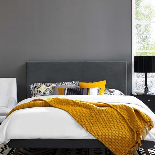 Modway - Taylor Twin Upholstered Performance Velvet Headboard in Gray