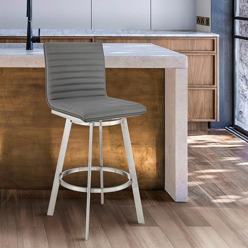 """Armen Living - Nikole 26"""" Gray Faux Leather and Brushed Stainless Steel Finish Swivel Bar Stool with Black Wood Back"""