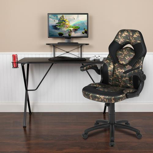 Gallery - Black Gaming Desk and Camouflage\/Black Racing Chair Set with Cup Holder, Headphone Hook, and Monitor\/Smartphone Stand