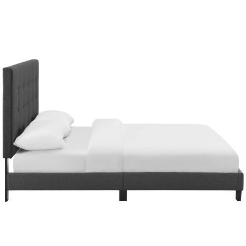 Melanie Queen Tufted Button Upholstered Fabric Platform Bed in Gray