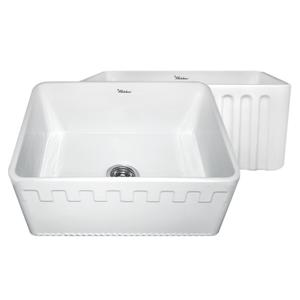 Farmhaus Fireclay Reversible Series fireclay sink with a Castlehaus design front apron on one side and a fluted front apron on the opposite side. Product Image